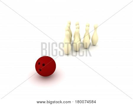 3D Illustration of bowling ball and bowling pins. The ball is red and the pins are yellow.