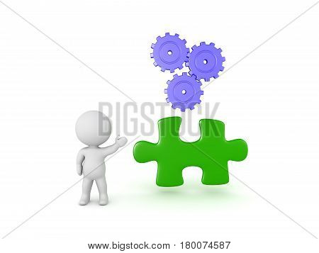 3D Character showing a jigsaw puzzle piece and three turning gears. It symbolizes progress and adversity.