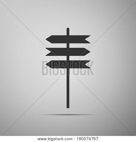 Road sign icon. Signpost flat icon on grey background. Pointer symbol. Vector Illustration