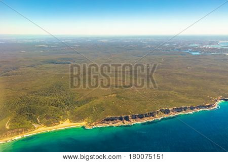 Aerial view of Garie Beach, Royal National Park, a protected national park That Is located south of Sydney, New South Wales, in eastern Australia.