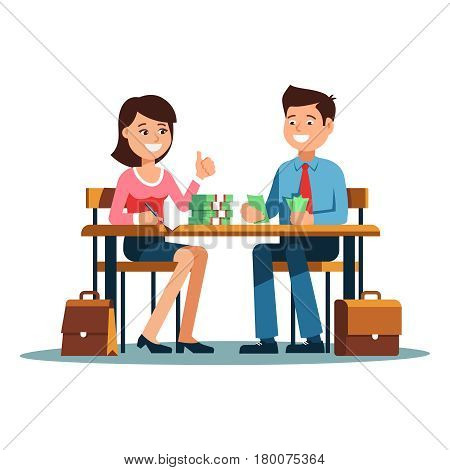 Two young businessman and businesswoman sitting at the office desk and count money bring a good profit. Vector illustration of business people smiling happy to profit growth on white background