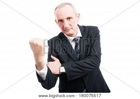 Middle Aged Elegant Man Showing Obscene Gesture