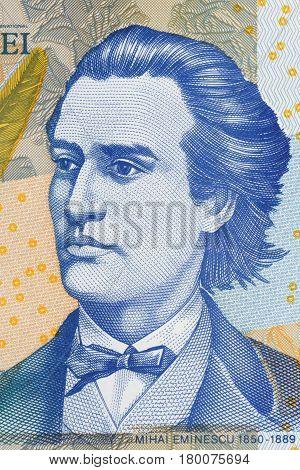 Mihai Eminescu portrait from Romanian money - Lei