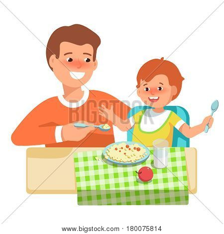 Vector illustration of happy father feeding her child in flat style on white background. Meal in a kindergarten or home. Concept complementary food