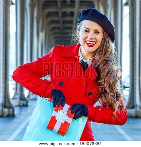 Tourist Woman Showing Shopping Bag And Christmas Present Box