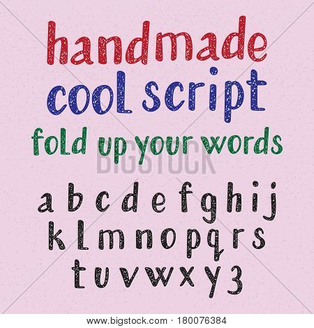 Handwritten style cool typeface. Isolated english alphabet of grainy texture. Fashion font of lowercase letters.