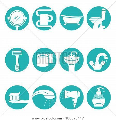 Bathroom necessary elements in round logo signs flat vector poster with white background. Hygiene equipments and toiletries objects symbols in azure circles. Concept of house cleanliness and purity