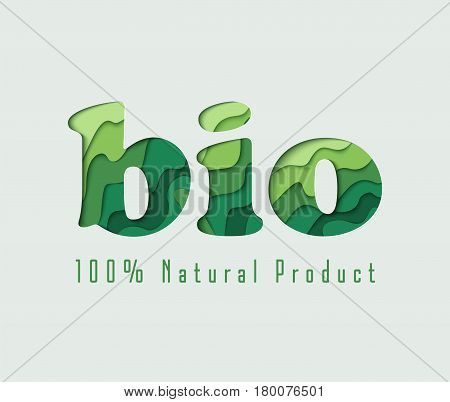 Bio paper cut vector concept art illustration. Ecological background with green paper art carving. Natural product banner