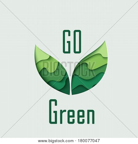 Go Green paper cut leaves vector concept art illustration. Ecological background with green paper art carving