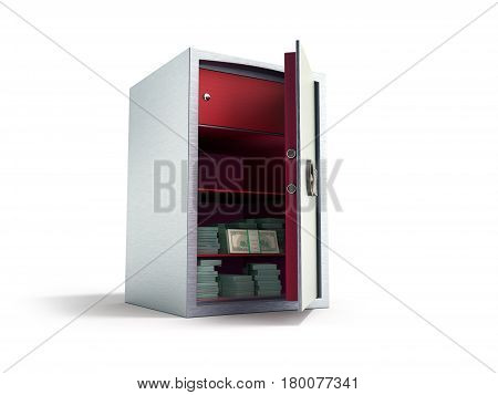 Bank Safe With Money Stacks Of Dollar Bills 3D Render On White