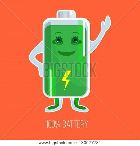 Cute full charged battery cartoon character with hands and face in flat design. Vector colorful picture of happy green accumulator with indicator and inscription 100 percent below
