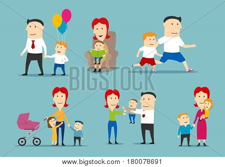 Happy family set. Parent and children spending time together. Mother, father, son and daughter reading, playing, walking outdoor, jogging and celebrating holiday. Family relationship, parenting design