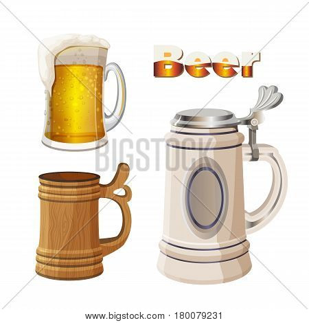 Beer mugs set isolated on white background. Glass transparent cup with foam, ancient german bavarian mug and wooden vessel for fresh light alcohol beverage drinking vector illustration