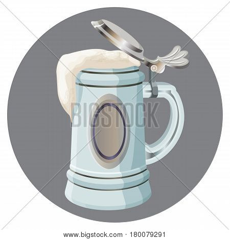 Ancient German beer mug with cover isolated on round grey button at white background. Vintage cup from Bavaria, traditional vessel for keeping fresh beer vector illustration