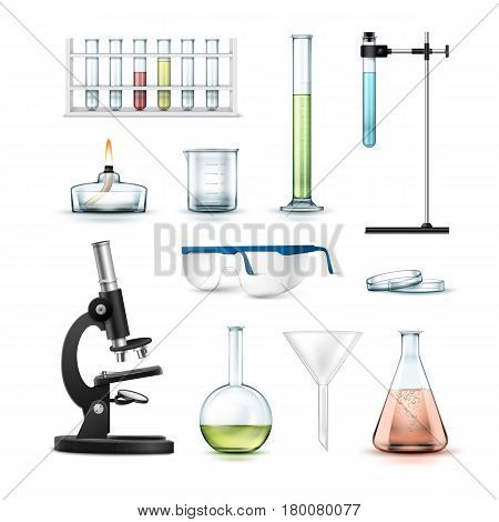 Vector set of chemical laboratory equipment test tubes, flasks with colored liquid, beaker, glasses, petri dish, alcohol burner, optical microscope and funnel Isolated on white background