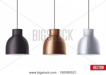 Vintage Metallic stylish hang ceiling cone lamp set. Original Retro design. Black, brass, and chrome color. Vector illustration Isolated on white background.