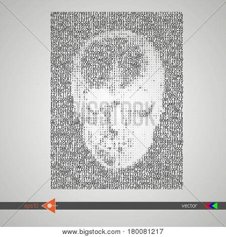 Vector Skull Lettering On White. Symbol, Head, Concept
