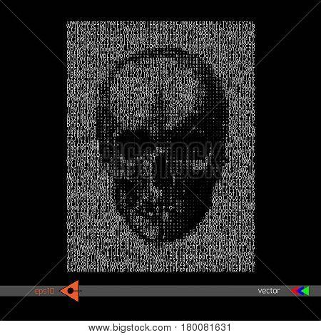 Vector Skull Lettering On Black. Symbol, Head, Concept