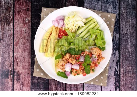 Spicy Sour Carp Eggs Of Silver Barb Fish Salad