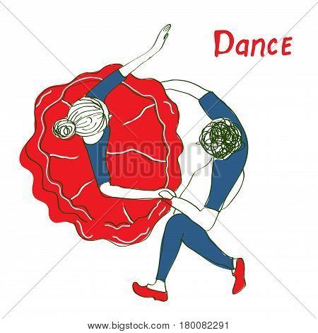 Dancing people sketch for the studio or card - vector graphic illustration
