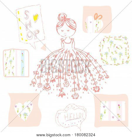 Fashion girl with flowers and frames set - cute design vector graphic illustration