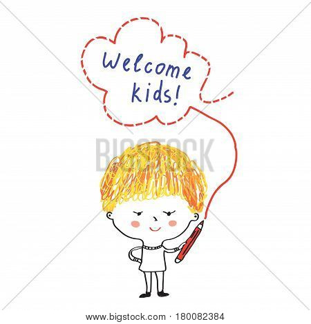 Kid with pencil and welcome banner for school or kindergarten - vector graphic illustration