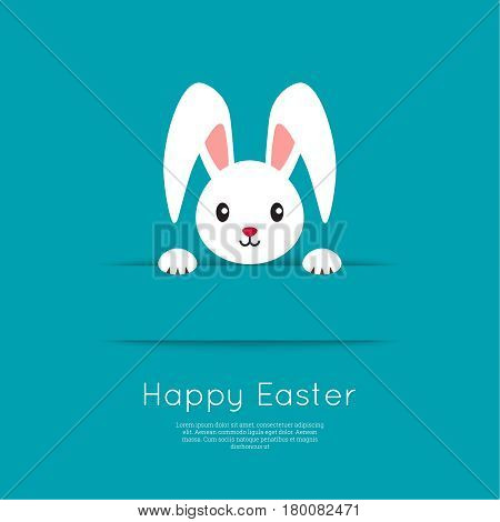 Easter Bunny pop out of the hole. Vector illustration. Blue background with Easter funny rabbit.