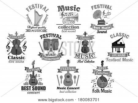 Music instrument symbol set. Guitar, piano, drum, trumpet, harp, violin, horn and maracas with musical notes and treble clef, ribbon banner and star. Classic and jazz music concert, festival design