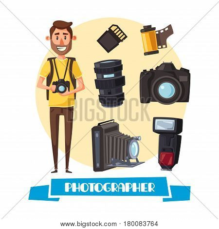 Photographer profession cartoon icon. Young man with digital camera and professional photo equipment such as lens, flash, photo film roll and memory card. Creative occupation, photojournalist design
