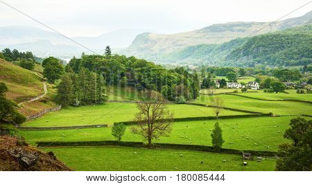 Beautiful  English countryside in spring, Lake District, Cumbria, England,  UK.