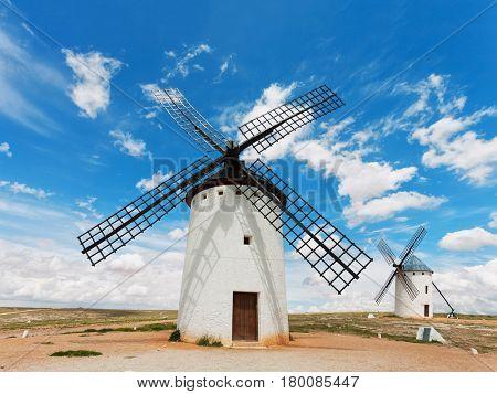 Medieval windmills in  Campo de Criptana, Castilla La Mancha, Spain.
