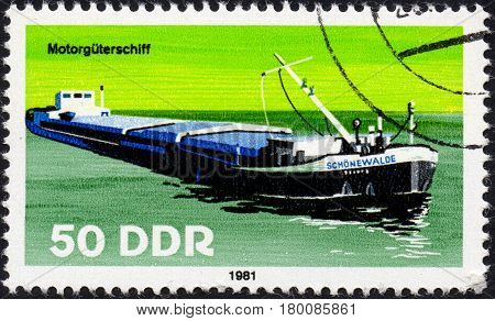 UKRAINE - CIRCA 2017: A postage stamp printed in DDR shows Motor vehicle ship circa 1981