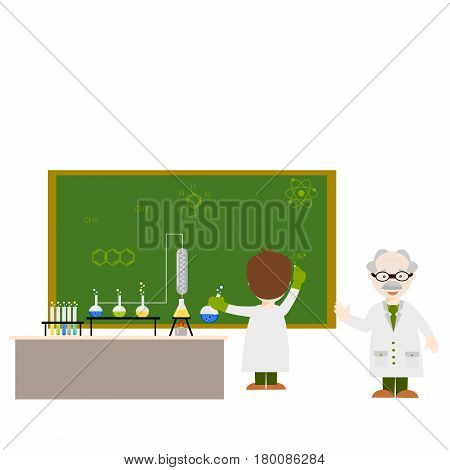 Cartoon chemistry concept with chemistry man. Chemistry laboratory. Children are studying and working with the teacher in chemistry lab.