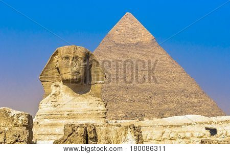 Panorama of sphinx and pyramids at Giza Cairo