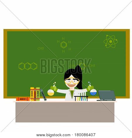 Cartoon chemistry concept with chemistry woman. Chemistry laboratory. Chemistry test. Chemistry experiment. Children are studying and working in chemistry lab. Isolated chemistry. Chemistry fun. Chemistry concept. Chemistry lesson