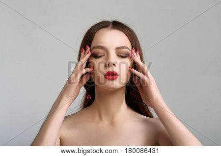 Portrait Of A Girl Who Has A Headache