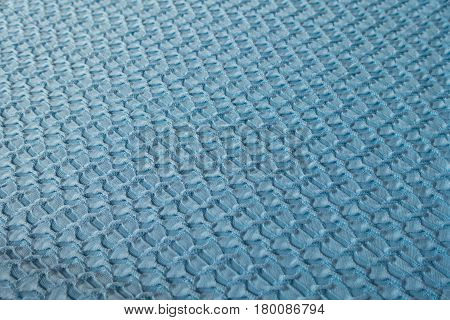 Sky blue crinkle polyester fabric (diagonal view)