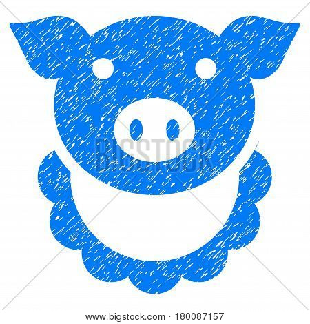 Grunge Pig Reward rubber seal stamp watermark. Icon symbol with grunge design and dirty texture. Unclean vector blue emblem.