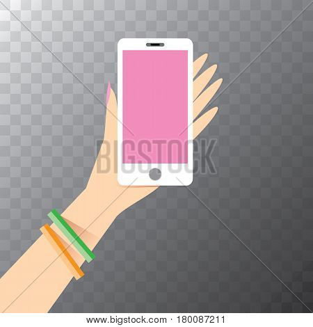 vector Hand holding white smart phone isolated. Vector flat style design phone with blank screen and human hand