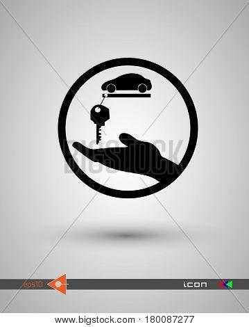 Car Key Black Web, Vector Icon. Concept, Template