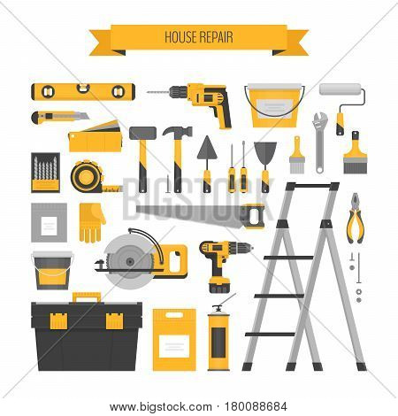 Home repair objects set. Сonstruction tools. Hand tools for home renovation and construction. Flat style vector illustration.