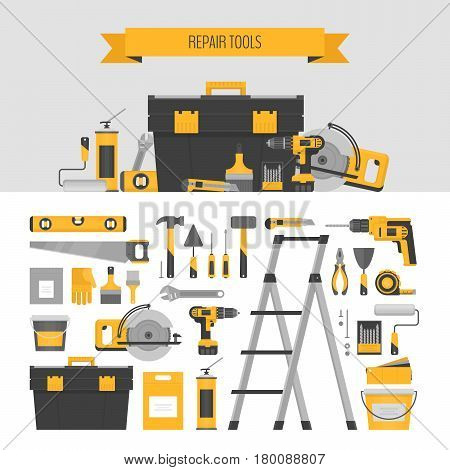 Home repair objects and banner. Сonstruction tools. Hand tools for home renovation and construction. Flat style vector illustration.