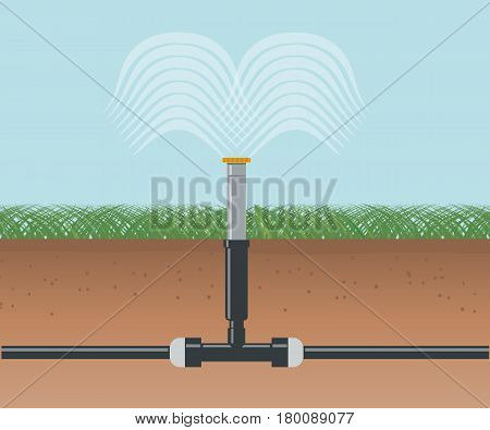 Water irrigation. Automatic sprinklers system. Vector illustration flat design
