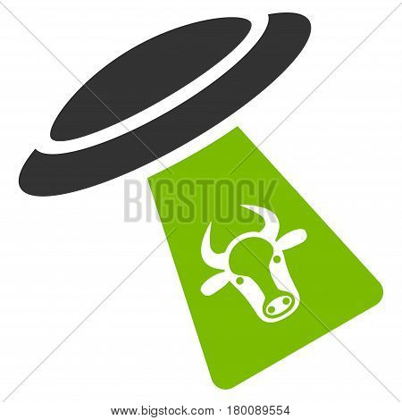 Cattle UFO Abduction vector icon. Flat bicolor eco green and gray symbol. Pictogram is isolated on a white background. Designed for web and software interfaces.