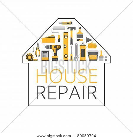 Home Repair. Construction Tools. Hand Tools For Home Renovation And Construction. Flat Style, Vector