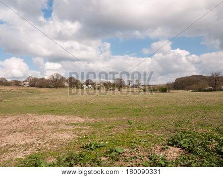A Big And Open Field In The Spring Day Light