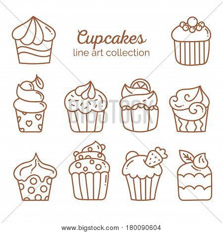 Cupcake line art collection, sweet baked dessert with cute decoration elements in line art style on white background, vector illustration, doodle sketch