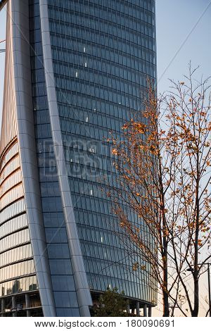 MILAN, ITALY - NOVEMBER 7, 2016: Milan (Lombardy Italy): modern glass skyscraper in Citylife (Tre Torri) known as the Generali building