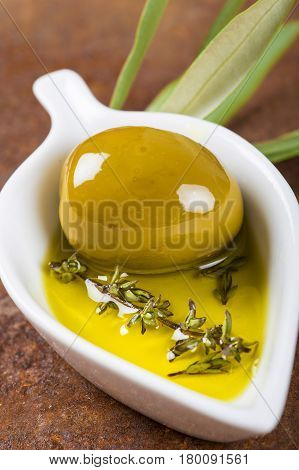 Extra Virgin Olive Oil And Green Olives