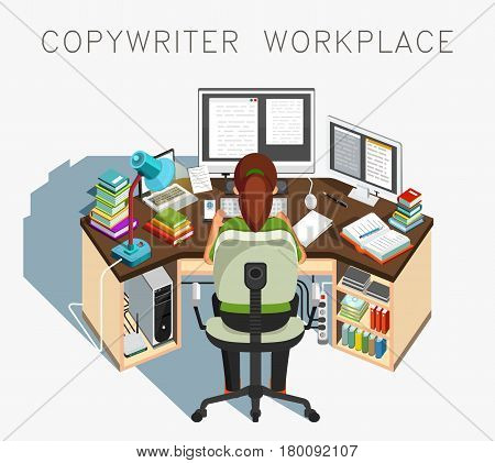 Copywriter workplace. Writer at work. Journalistic activity. Vector illustration